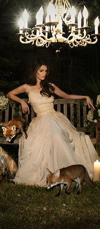 Аватар вконтакте Девушка в белом платье сидит на лавочке рядом с лисами