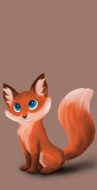 Аватар вконтакте Голубоглазая лисичка на коричневом фоне