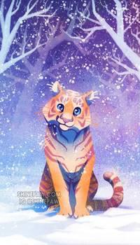Аватар вконтакте Тигренок сидит на снегу, by ShinePawArt