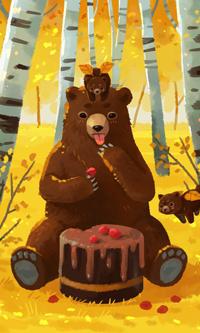 Аватар вконтакте Медведица и два медвежонка с тортом в лесу, by freeminds