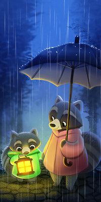 Аватар вконтакте Панда с зонтом и детеныш с горящим фонарем стоят под дождем
