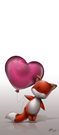 Аватар вконтакте Лисичка с воздушным шаром в виде сердца, by abraaolucas