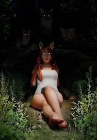 Аватар вконтакте Девушка с лисьими ушками сидит на поляне, за ней видны три лиса с горящими глазами