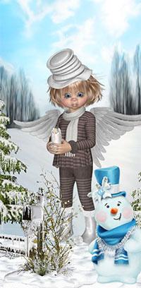 Аватар вконтакте Ангел в белой шляпе на фоне снеговика, заснеженных елей, неба