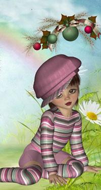99px.ru аватар Девочка в розовой одежде, в розовой кепке сидит на траве, на фоне ромашки и новогодних игрушек