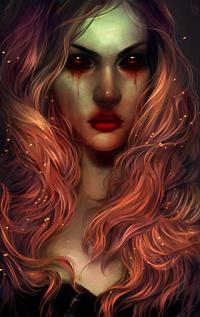 Аватар вконтакте Длинноволосая девушка с кровавыми глазами, by LoranDeSore