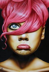 Аватар вконтакте Девушка с красными волосами поджала нижнюю губу, by Carmen RoldГЎn Moreno