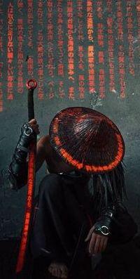 99px.ru аватар Самурай с мечом склонил голову в шляпе