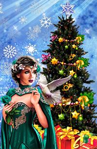 Аватар вконтакте Девушка в зеленой одежде с цветами в волосах на фоне голубя, новогодней елки и подарков