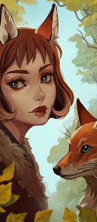 Аватар вконтакте Рыжеволосая девушка с лисьим ушками напротив лиса, by Radittz