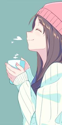 99px.ru аватар Девушка в профиль с розовой шапкой держит в руках кружку