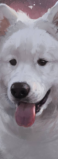 Аватар вконтакте Собака породы самоед с высунутым языком, by LazyLapwing