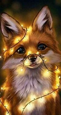Аватар вконтакте Лисичка в светящейся гирлянде, by Lhuin