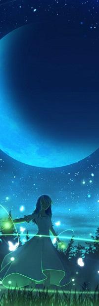 99px.ru аватар Девочка стоит на фоне неба с луной