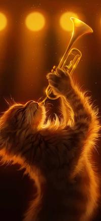 99px.ru аватар Котенок с трубой на размытом фоне, by Pixxus