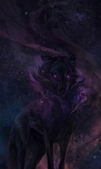 99px.ru аватар Волк на фоне ночного звездного неба, by Karina Sennikova