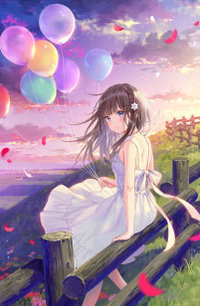 99px.ru аватар Девочка с воздушными шарами в руке сидит на заборе