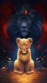 99px.ru аватар Львенок и за ним лев с месяцем на гриве, by TsaoShin