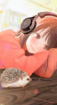99px.ru аватар Девочка в наушниках слушает музыку и рядом с ней сидит ежик