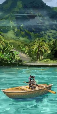 Аватар вконтакте Енот в лодке на воде