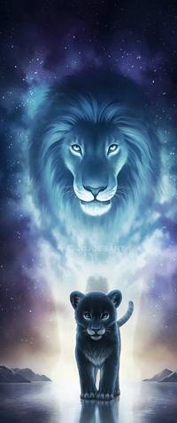 99px.ru аватар Львенок на фоне огромного льва, by JoJoesArt
