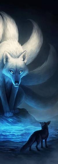 Аватар вконтакте Лис смотрит на большого духа лиса, by JoJoesArt
