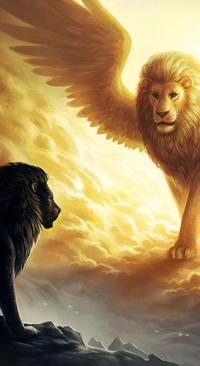 Аватар вконтакте Черный лев смотрит на крылатого белого льва, by JoJoesArt