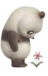 99px.ru аватар Панда смотрит на цветок