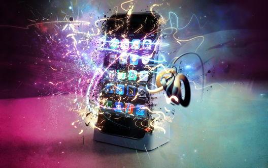 Обои Навороченный девайс (Стилизованый айфон (iPhone) со световыми всплесками)