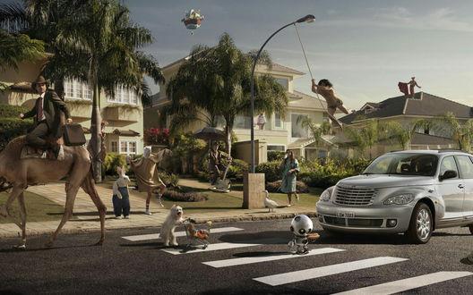 Обои Несуразицы-2 (Вокруг машины собрались персонажи помещенные в необычные условия: Тарзан на городском фонаре, тореадор на крыше, девушка в тапочках выгуливает гуся, а мужчина в деловом костюме едет на верблюде)