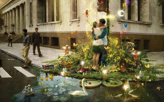 Обои Райский уголок (Сказка пришла в город) - На углу обычного городского дома вокруг целующихся влюбленных появился сказочный уголок, с прудом, патефоном, лебедями эльфами и гномами
