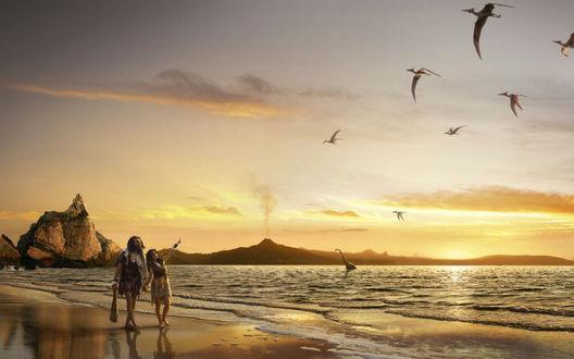Обои Прогулка по берегу моря (парочка в одежде из шкур бредёт по берегу моря. Девушка показывает на летящих в небе птеродактелей, из воды вытягивает длинную шею одинокий динозавр.