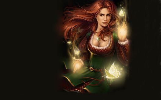 Обои Рыжеволосая девушка с волшебными бабочками в руках
