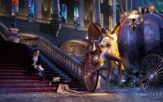 Обои Золушка (всем известный эпизод, Золушка роняет свою  хрустальную туфельку, по которой влюблённый принц, проявляя задатки настоящего детектива, найдёт свою любовь)
