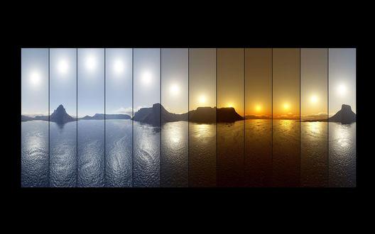 Обои Смена цвета (Положение солнца относительно горизонта от заката до восхода)