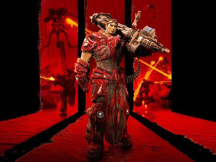Обои Twin Souls / Твин Соулз по прозвищу Reaper / Рипер с большой пушкой на фоне войны, из игры Unreal Tournament 3
