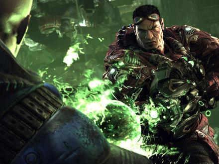 Обои Twin Souls / Твин Соулз по прозвищу Reaper / Рипер стреляет зеленой плазмой из игры Unreal Tournament 3
