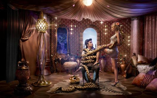 Обои Любовные забавы (Красивая колдунья обвила длинной косой юношу, пытаясь приворожить его к себе. На заднем плане в зеркале, в дымке проступает злое лицо её отца, мага 1 ступени)