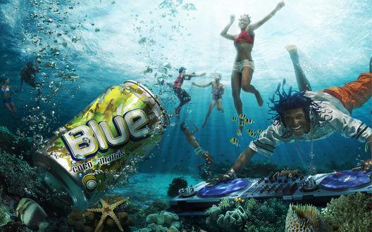 Обои Дискотека под водой (ребята тусуются под водой под музыку весёлого диджея) Blue coco ananas