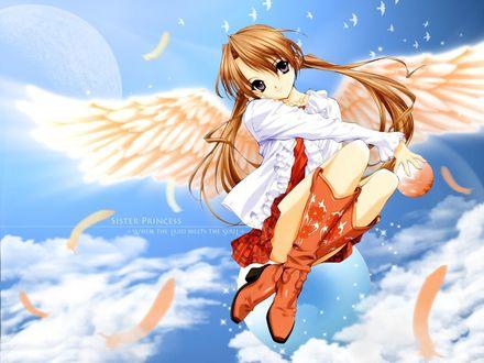 Обои Sister Princess where th elend meets the soul (Анимешка с крыльями в кожаных сапожках и блузке летит в небе)