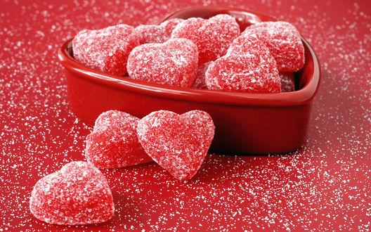 Обои сахарные сердечки, мармелад