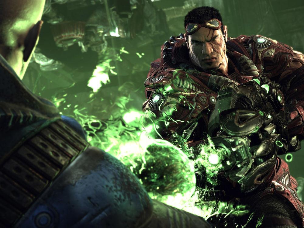 Обои для рабочего стола Twin Souls / Твин Соулз по прозвищу Reaper / Рипер стреляет зеленой плазмой из игры Unreal Tournament 3