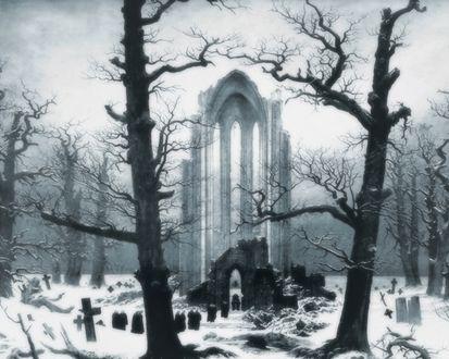 Обои На кладбище (Видна цепочка странных фигур, направляющихся к полуразрушенным зданиям)