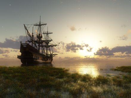 Обои Большой корабль отплывает во время заката
