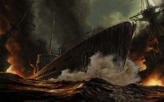 Обои Бой на воде, танкер пробивается сквозь огонь