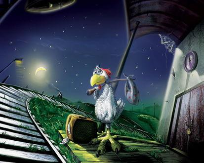 Обои Курица на перроне в ожидании паровоза с вещами ночью