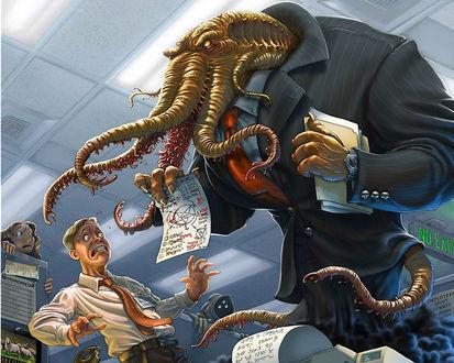 Обои Монстр с щупальцами напугал офисных работников (NO EXIT)