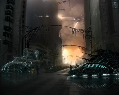 Обои Космический патруль обшаривает сразу опустевшие улицы города, сверху ведёт разведку планелёт
