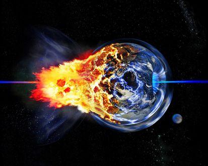 Обои Земля пораженная каким-то страшным лучом, вся в огне