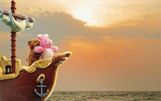 Обои Титаник у плюшевых игрушек